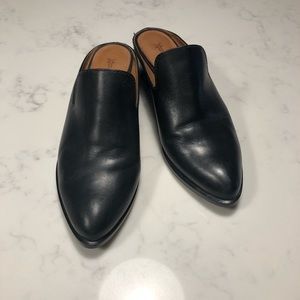 Frye black leather mules